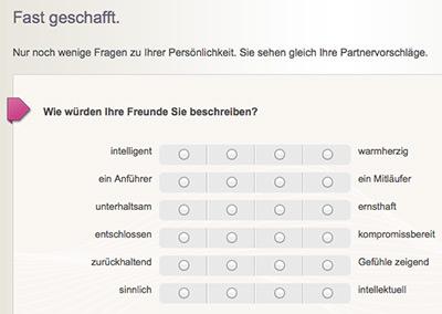 AcademicSingles.ch Fragebogen
