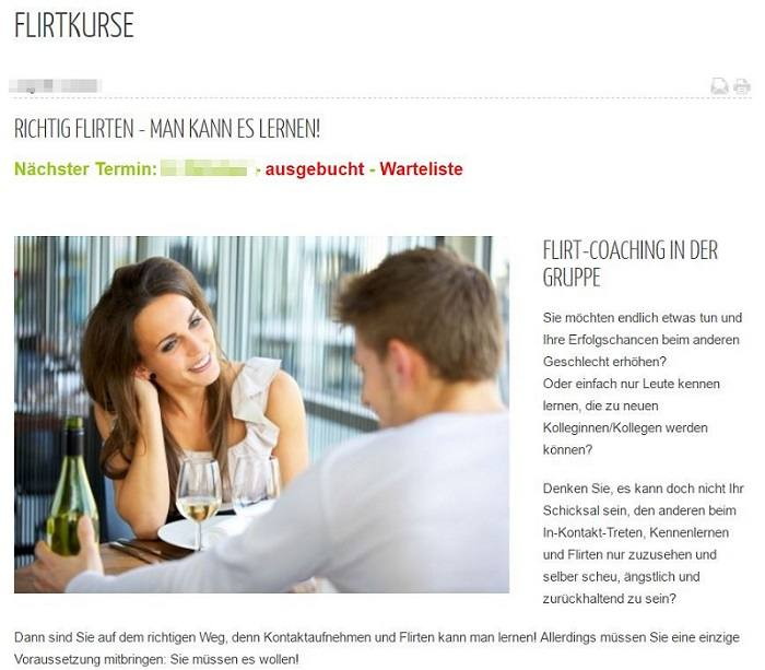Flirtkurse fuer Singles in der Schweiz bei events2love