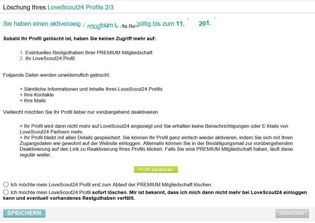 Love Scout Profil Löschen